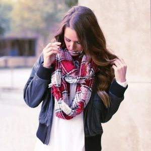 Accessories - Red and white plaid scarf
